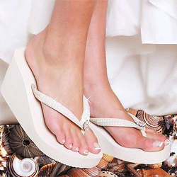 Ivory High Wedge Bridal Flip Flops